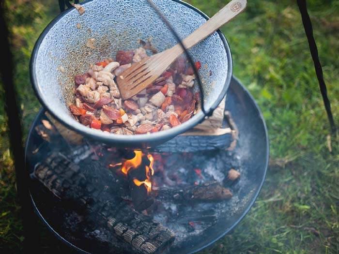 Delicious cooking on a campfire